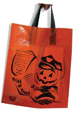 "H2018SLS Officer Friendly 12"" x 12""  x 4"" Orange Halloween Soft Loop plastic bag with safety messages and your message printed in a 3"" x 5"" area on bag (COPY)"