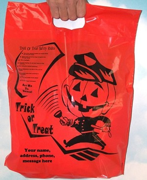 "H2018S Officer Friendly 12"" x 15"" Orange Halloween plastic bag with safety messages and your message printed in a 3"" x 5"" area on bag"