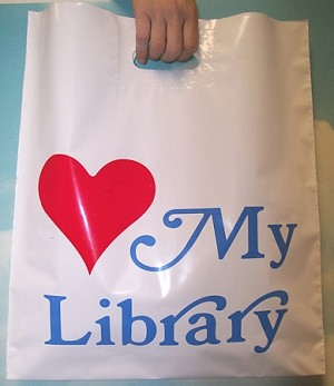 "L2035 16"" X 18"" X .003 LOVE MY LIBRARY POLY BAGS PACKED 500/CASE"