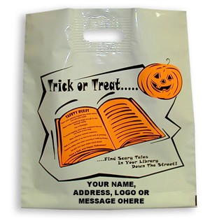 "L3547S 16"" X 18""  Large Florsecent Halloween Poly Bags Packed 250/CASE Wtih Your Custom Message"