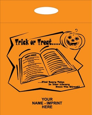 "L3548S 12"" X 15"" ORANGE HALLOWEEN POLY BAGS With your message printed in a 3"" x 5"" area PACKED 200/CASE&"