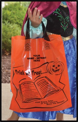 "L3548SLS 12"" X 15"" ORANGE HALLOWEEN Soft Loop POLY BAGS With your message printed in a 3"" x 5"" area PACKED 200/CASE"