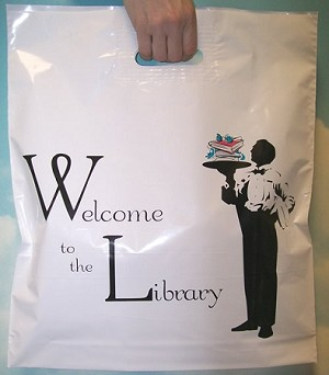 "L3554 16"" X 18"" X .003 WELCOME TO THE LIBRARY POLY BAGS PACKED 500/CASE"