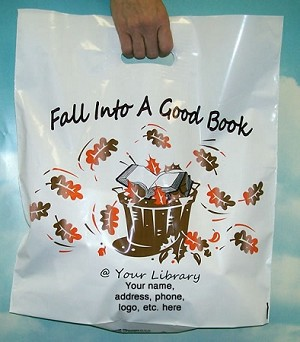 "L3558S Fall into a Good Book @ your Library with Your message in 3"" x 5"" area on one side of the bag PACKED 250/CASE"