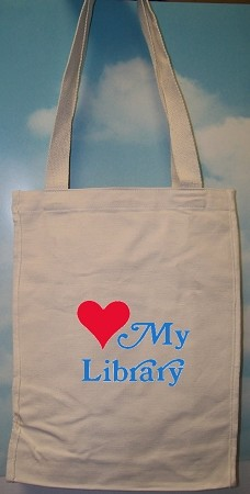 "L3572LML 12"" X 15"" X 5"" LOVE MY LIBRARY IMPRINTED COTTON CANVAS TOTE BAG 11oz."