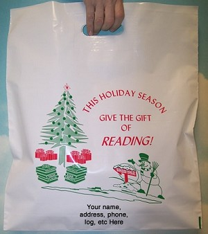 "L3504S This Holiday Season Give the Gift of Reading with your message printed in a 3"" x 5"" area Packed 250/case"