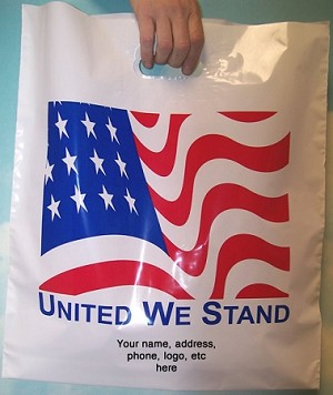 "L3540S  UNITED WE STAND POLY BAGS WITH YOUR MESSAGE PRINTED IN A 3"" X 5"" AREA PACKED 250/CASE"