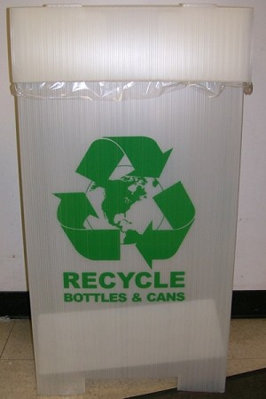 "R5000BC Recycle Bin 20 1/4"" x 17"" x 38 1/4"" For Bottles and Cans"