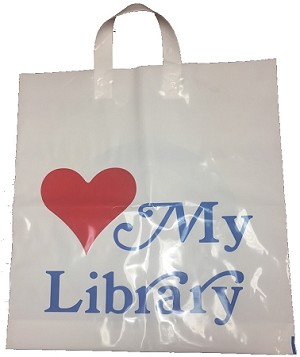 "L2035SL 16"" X 18"" X .003 WHITE SOFT LOOP LOVE MY LIBRARY POLY BAGS PACKED 500/CASE"