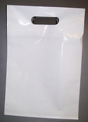 "S2027 15"" X 18"" X .00175 WHITE HANDLE CUT POLY BAGS W/ 3"" B.G. PACKED 500/CASE"